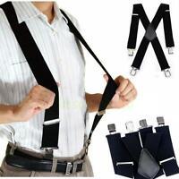 New Plain Black Mens Braces Suspenders Heavy Duty Adjustable Unisex Elastic -8C
