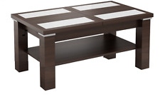 EXTENDABLE LIFT UP QUALITY LARGE COFFEE TABLE MODERN WOOD + GLASS CONTEMPORARY
