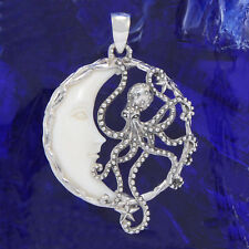 Bone Moon Sterling Silver Octopus Pendant Handcrafted