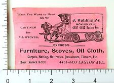 1890's J. Ruhlman's Moving Van, Easton Ave, St. Louis, MO Trade Card Label F65