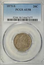 1875 S 20 cent, PCGS AU58