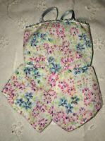 Vtg Barbie Doll Pink Blue Floral Lingerie Romper Teddy Short Pajamas