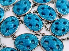 Vintage Pressed Blue Glass Carved Rose Flower Oval Panel Necklace Necklet