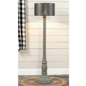 Primitive Country Farmhouse Brinton House Floor Lamp in Earl Gray with Shade