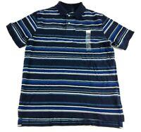 Merona New Mens Blue Striped Short Sleeve Polo Shirt Size Medium