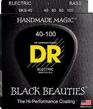 DR BKB-40 BLACK BEAUTIES COATED BASS STRINGS, LIGHT GAUGE 4's  40-100