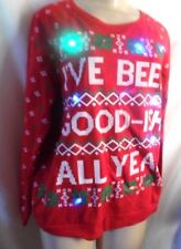 LIGHTED CHRISTMAS FLEECE WE BEEN GOOD-ISH ALL YEAR RED TOP L SLEEVE Jnrs L 11-13