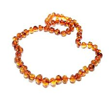 "Genuine Baltic Amber Necklace for Adult 45 cm /17.7"" Baroque Beads Choose Color"