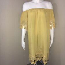 Iris Women's Large Dress Off The Shoulder Lace Hem & Sleeves Mustard Yellow New