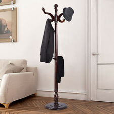 "71"" Wood Hat Coat Rack Hanger Tree Stand Hallway Entry Home Furniture W/ 11Hooks"