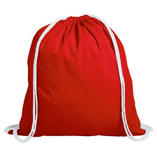 1 x Red 100% Cotton Drawstring Rucksack Backpack Tote Bag PE sack Kids Sport