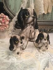 Vintage Retro Big Eyed Cocker Spaniel Dogs Mom & Pups On Chains Figurines