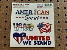 American Spirit Patriotic reusable clings (4 per sheet).  Made in USA!