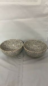 New, Black & White Dot Stoneware Snack Round Bowls, 2 Pack, Free Shipping