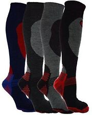 4 Pairs Mens Thermal Padded Long Length Ski Socks Size UK 6 -11