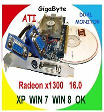 WINDOWS 7 DUAL MONITOR x16  PCI-E Video Card. GIG-A-BYTE. 256MB with 2x Adapter