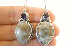 Gray Jasper Purple Amethyst Ornate 925 Sterling Silver Hook Earrings