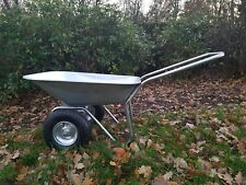 2 Wheel Barrow Galvanised 130kg Garden Cart Construction Wheelbarrow Flat &