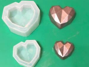set of 2 diamond Gem geometric heart moulds - chocolate, wax melts, sugarpaste