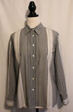 BLUE ILLUSION ~ Grey & White Pinstriped Poly Cotton Long Sleeve Button Shirt L
