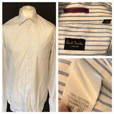 "Paul Smith Men's Formal Shirt Blue White Striped Shirt 17.5"" 44 Cufflink Sleeve"