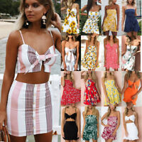 Womens Holiday Floral Tie Strappy Ladies Summer Beach Ruffle Mini Sundress Lot