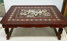 Vintage Chinese Breakfast Bed Tray Carved Wood Mother of Pearl Abalone Inlay