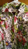 Coldwater creek zip jacket xl mosaic Paisley flower print.  Missing BLK button.