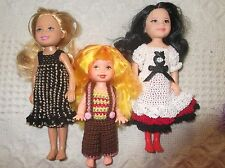 Lot of 3 Chelsea Kelly Dolls by Mattel with OOAK Dresses Clothes Mini Barbie