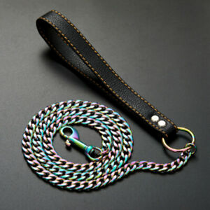 """Duty Dog Leash Stainless Steel Multicolor Cuban Chain Genuine Leather Handle 51"""""""