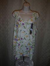 Sleeveless Linen Blouse size Lg Gap White Green Yellow & other Floral 52% linen