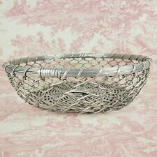 "Round Wire Farmhouse Decor Bread Fruit Egg Basket Round 12"" x 3.5"" deep Sturdy"