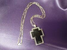 "Large Sterlilng Silver Rhinestone Black Ceramic Cross w/ 24"" Figaro (3+1) Chain"