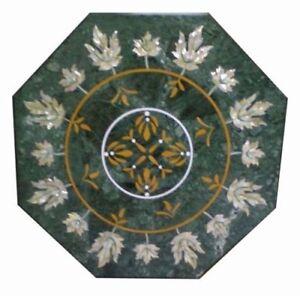"24"" Green Marble Coffee Table Top Pietra Dura Handmade Decorative Home Furniture"