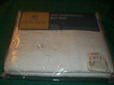 New Whole Home White Embroidered Twin Bed Skirt 100% Cotton Intricate Hemstitch