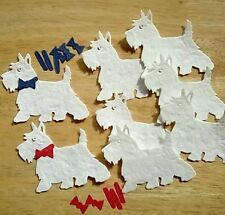 Westie Dog Die Cuts x 8 with collars and bow ties, Mulberry paper