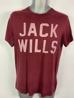 MENS JACK WILLS XS XSMALL BURGUNDY SHORT SLEEVED LOGO FRONT CASUAL TOP T-SHIRT