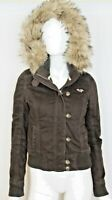 Hollister Women's Brown Winter Jacket Faux Fur Lining Hood Trim - Size S