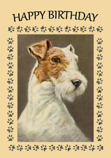 WIRE FOX TERRIER DOG HEAD STUDY BIRTHDAY GREETINGS NOTE CARD