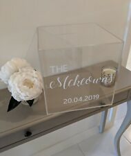 Acrylic Wedding Post Box Clear Rustic Envelope Save The Date Large Personalised