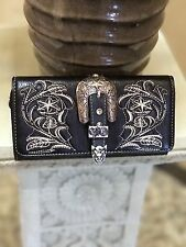 Montana West Black Embroided Wallet Western Belt Buckle Trifold