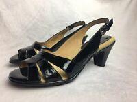 Softspots Women's Size 7.5 W Sandals Heels Black Patent Leather Slingback Wide