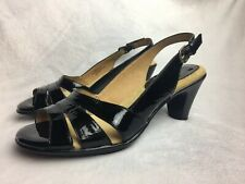 Softspots Women's Size 7.5 W Sandals Heels Black Patent Leather Slingback Wide