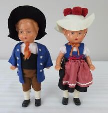 Vintage West German Boy and Girl Hard Plastic Dolls from 1950's 7 inches Tall