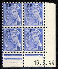 FRANCE - 1944 - N°657 10c MERCURE RF COIN DATÉ du 16.8.44 (1 point blanc) - TB