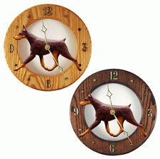 Doberman Pinscher Wood Clock Red/Tan