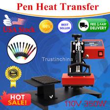 6Pcs Digital Pen Heat Press Machine For Ball-point Transfer Printing 110V US HOT