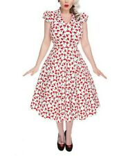NWT Hearts & Roses London White w/ Red Cherries Swing Dress Pinup Style ~ Sz.12
