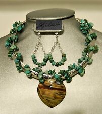 WireWrapped Turquoise Collar Fantastic Jasper Heart Pendant & Earrings Set
