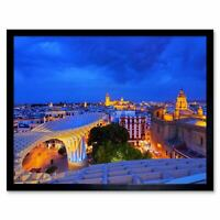Photo Cityscape Seville Spain Cathedral Night View Lights 12X16 Framed Art Print